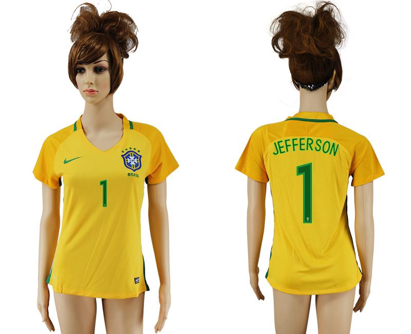Brazil 1 JEFFERSON Home Women 2016 Copa America Centenario Soccer Jersey