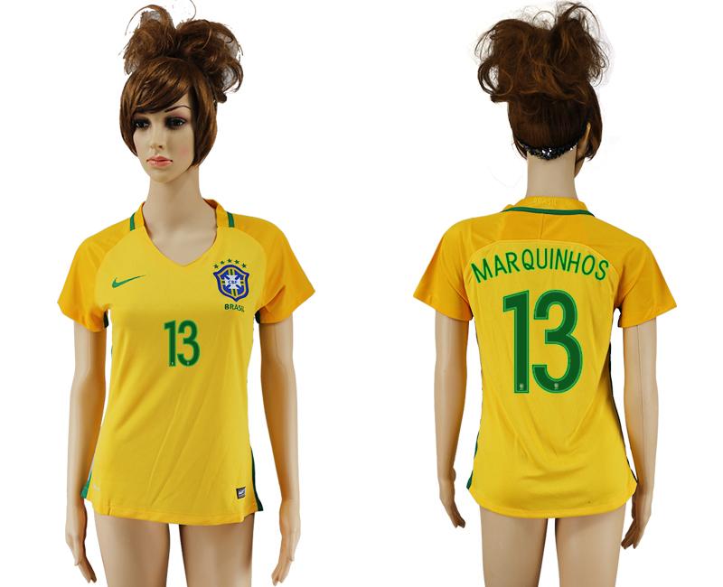 Brazil 13 MARQUINHOS Home Women 2016 Copa America Centenario Soccer Jersey