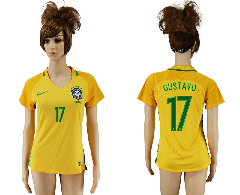Brazil 17 GUSTAVO Home Women 2016 Copa America Centenario Soccer Jersey