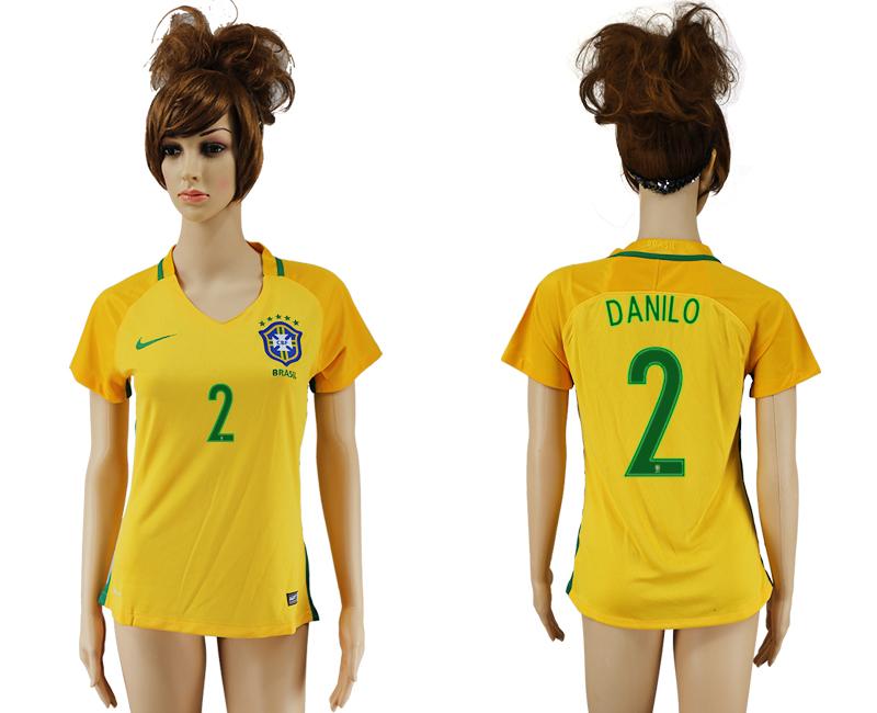 Brazil 2 DANILO Home Women 2016 Copa America Centenario Soccer Jersey