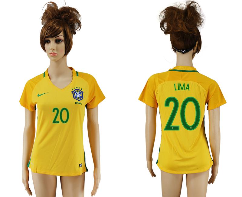 Brazil 20 LIMA Home Women 2016 Copa America Centenario Soccer Jersey