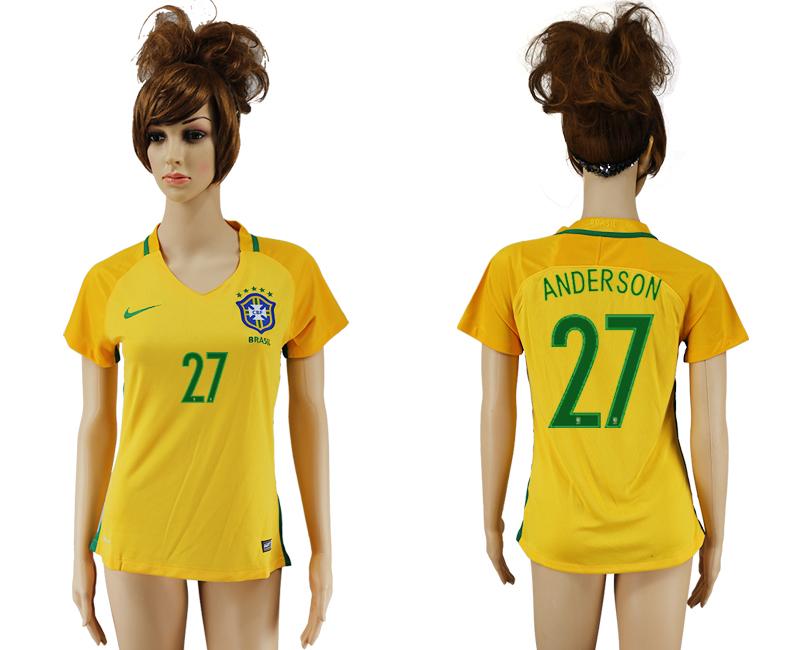 Brazil 27 ANDERSON Home Women 2016 Copa America Centenario Soccer Jersey