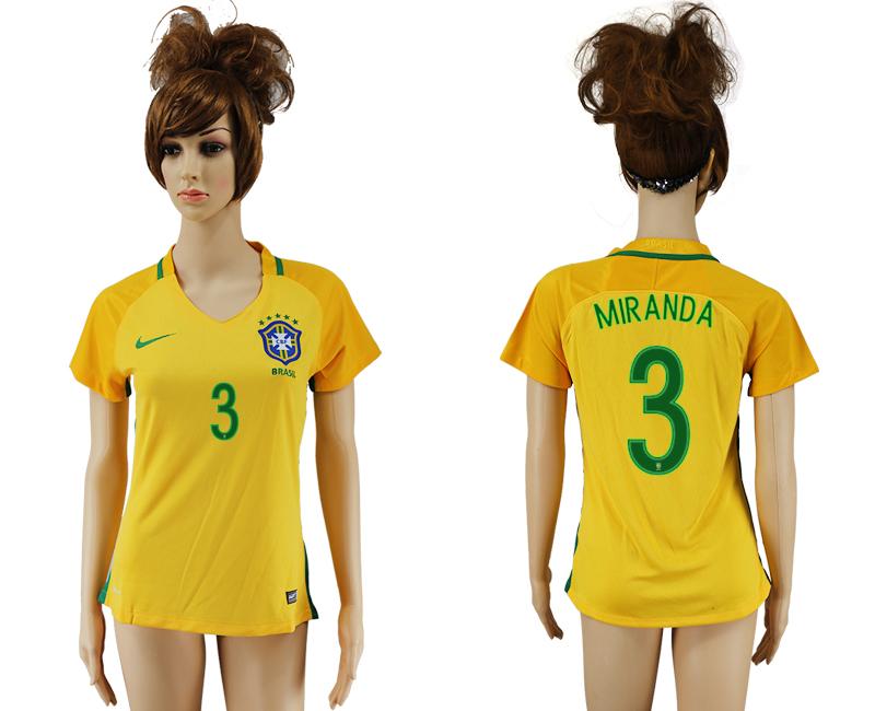 Brazil 3 MIRANDA Home Women 2016 Copa America Centenario Soccer Jersey