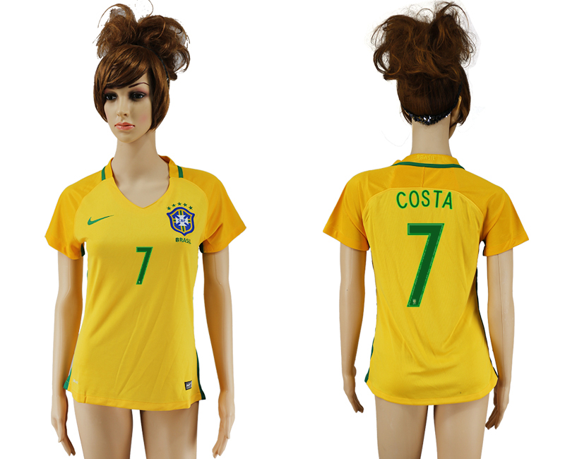 Brazil 7 COSTA Home Women 2016 Copa America Centenario Soccer Jersey