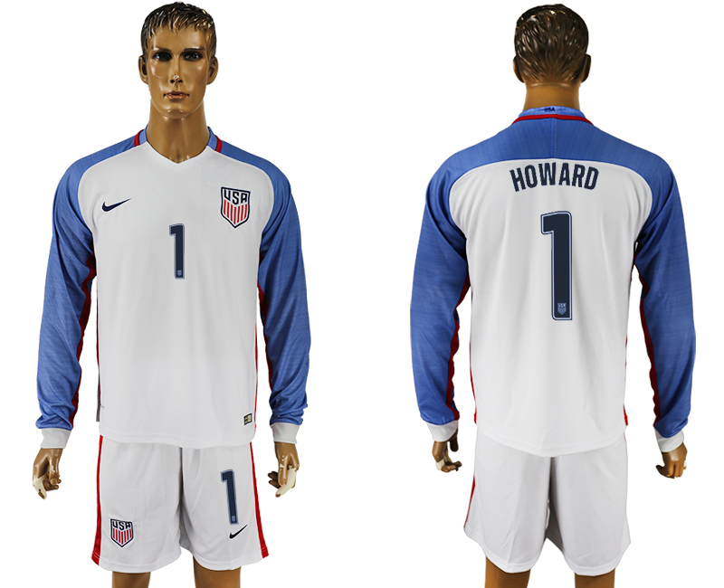 USA 1 HOWARD Home 2016 Copa America Centenario Long Sleeve Soccer Jersey