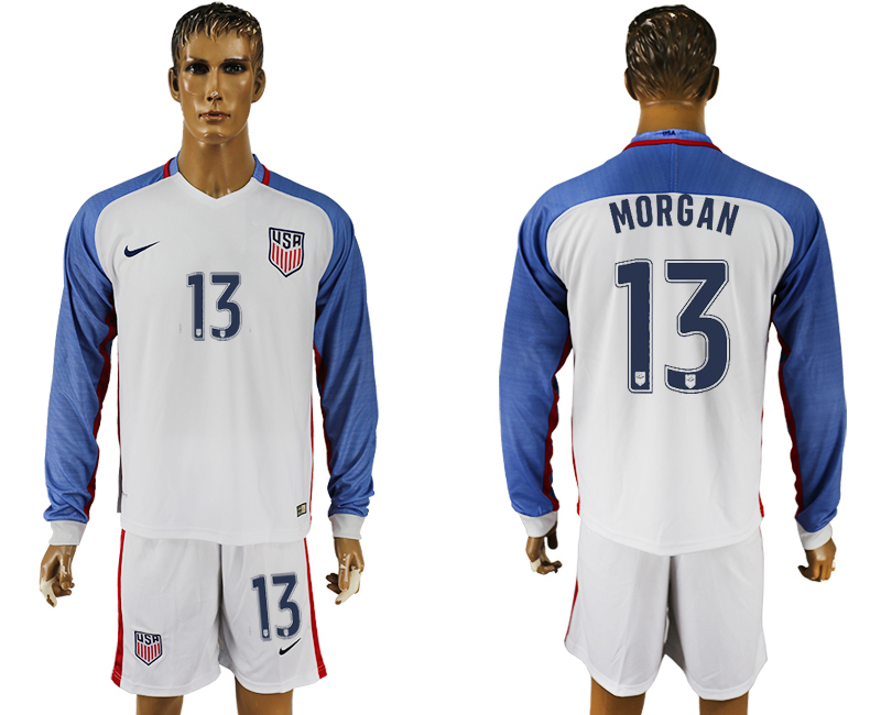 USA 13 MORGAN Home 2016 Copa America Centenario Long Sleeve Soccer Jersey