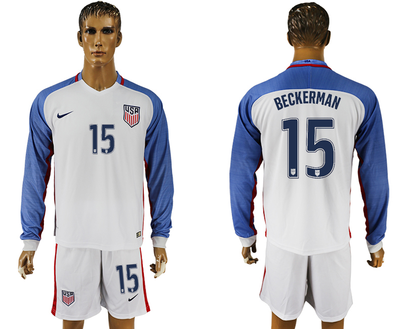 USA 15 BECKERMAN Home 2016 Copa America Centenario Long Sleeve Soccer Jersey