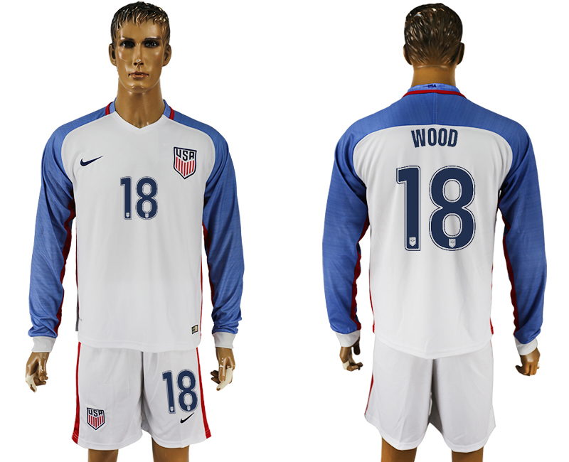 USA 18 WOOD Home 2016 Copa America Centenario Long Sleeve Soccer Jersey