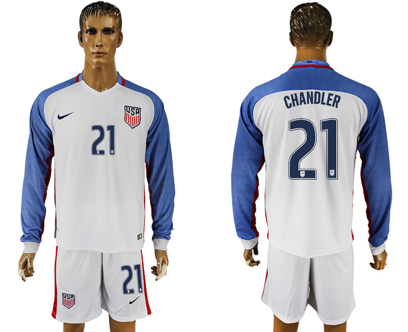 USA 21 CHANDLER Home 2016 Copa America Centenario Long Sleeve Soccer Jersey