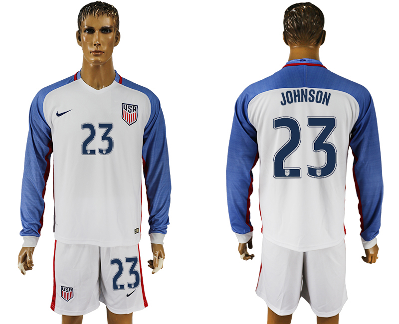 USA 23 JOHNSON Home 2016 Copa America Centenario Long Sleeve Soccer Jersey