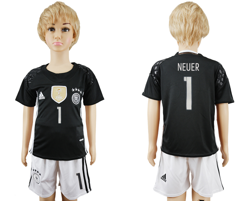 Germany 1 NEUER Youth Goalkeeper UEFA Euro 2016 Soccer Jersey