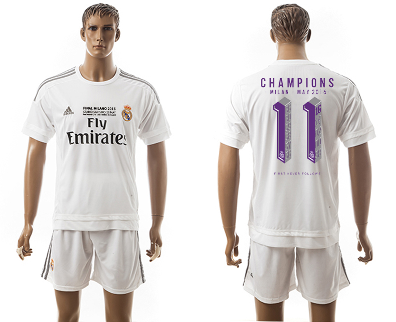 2015-16 Real Madrid 11 CHAMPIONS Home Soccer Jersey