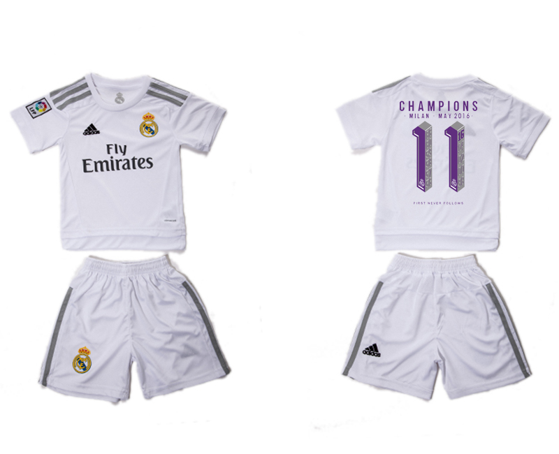 2015-16 Real Madrid 11 CHAMPIONS Home Youth Soccer Jersey