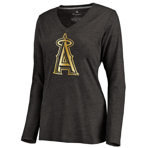 Los Angeles Angels Women's Gold Collection Long Sleeve V Neck Tri Blend T-Shirt Black