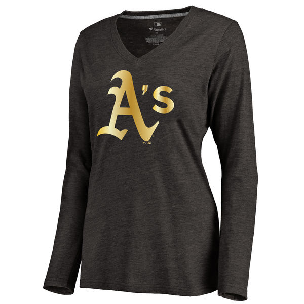 Oakland Athletics Women's Gold Collection Long Sleeve V Neck Tri Blend T-Shirt Black