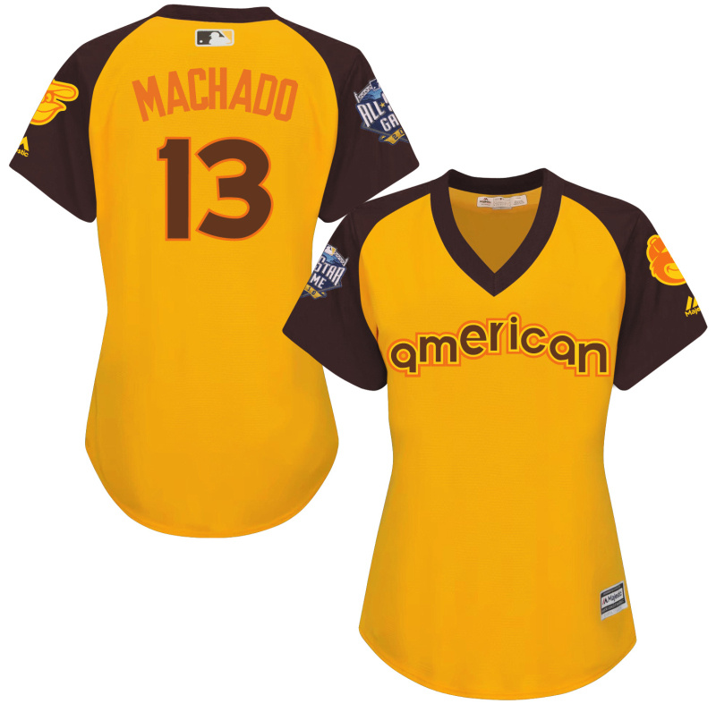 Orioles 13 Manny Machado Yellow Women 2016 All-Star Game Cool Base Batting Practice Player Jersey