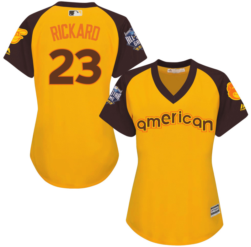 Orioles 23 Joey Rickard Yellow Women 2016 All-Star Game Cool Base Batting Practice Player Jersey
