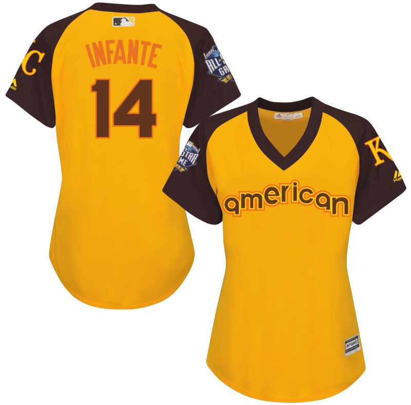 Royals 14 Omar Infante Yellow Women 2016 All-Star Game Cool Base Batting Practice Player Jersey