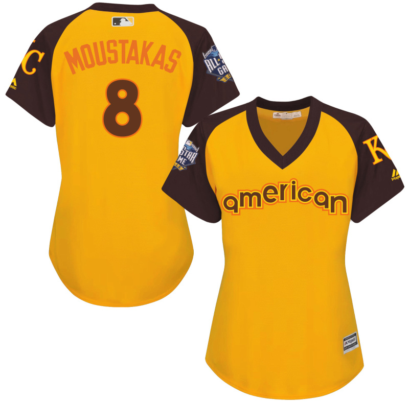 Royals 8 Mike Moustakas Yellow Women 2016 All-Star Game Cool Base Batting Practice Player Jersey