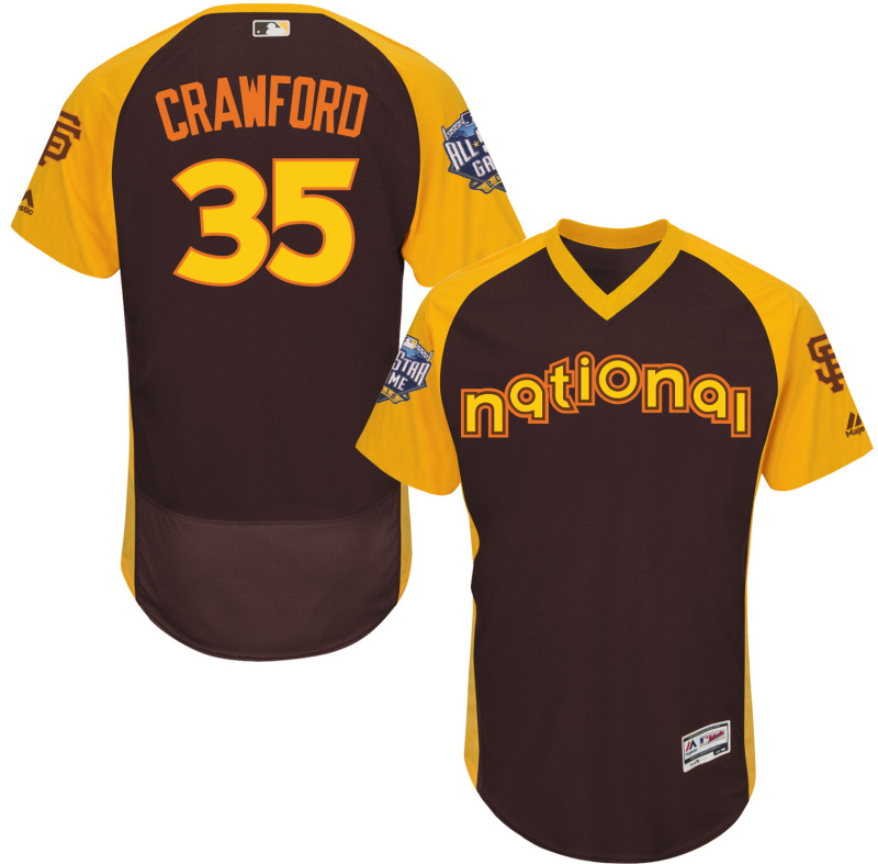 Giants 35 Brandon Crawford Brown 2016 All-Star Game Cool Base Batting Practice Player Jersey