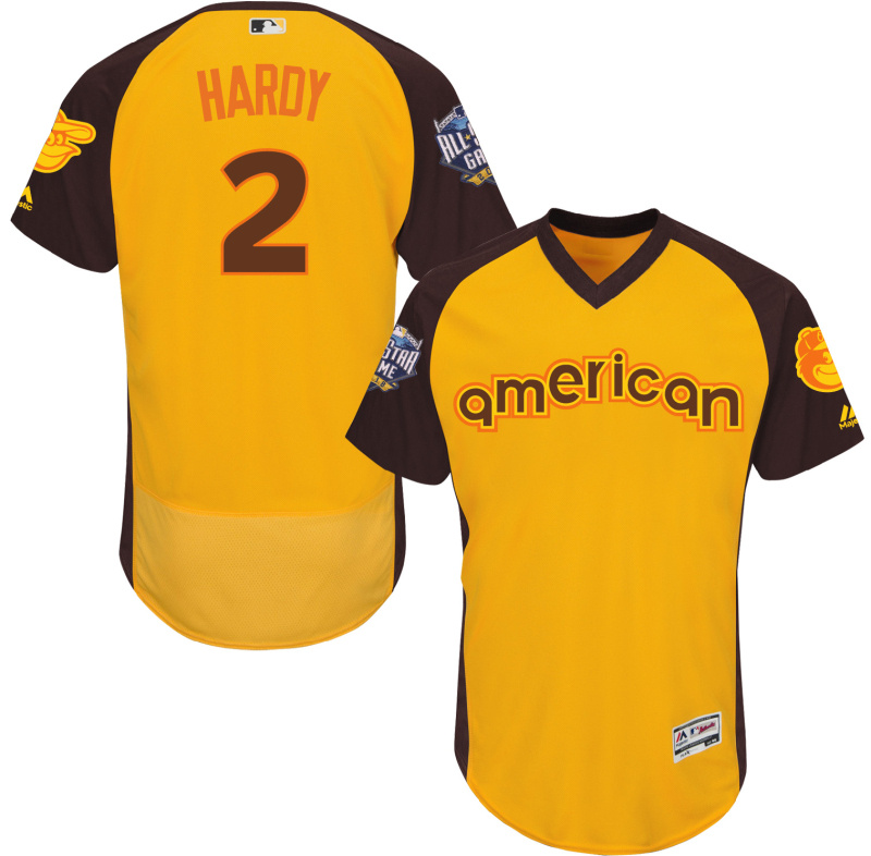Orioles 2 J.J. Hardy Yellow 2016 All-Star Game Cool Base Batting Practice Player Jersey