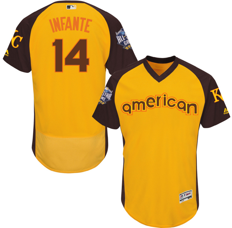 Royals 14 Omar Infante Yellow 2016 All-Star Game Cool Base Batting Practice Player Jersey