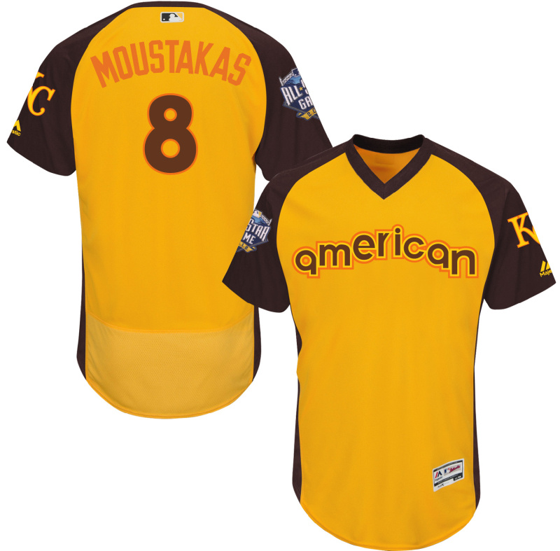 Royals 8 Mike Moustakas Yellow 2016 All-Star Game Cool Base Batting Practice Player Jersey