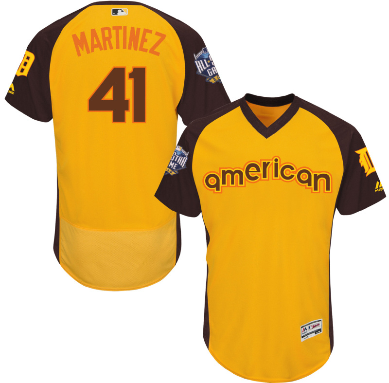 Tigers 41 Victor Martinez Yellow 2016 All-Star Game Cool Base Batting Practice Player Jersey