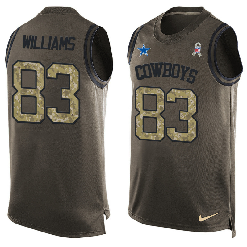 Nike Cowboys 83 Terrance Williams Olive Green Salute To Service Player Name & Number Tank Top