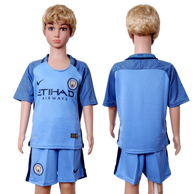 2016-17 Manchester City Home Youth Soccer Jersey