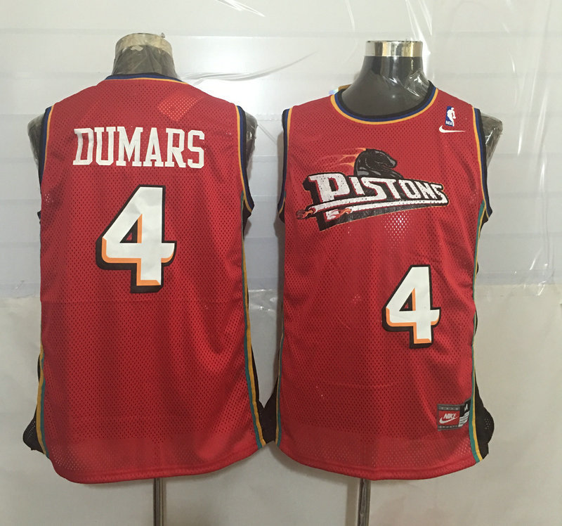 Pistons 4 Joe Dumars Red Nike Stitched Jersey