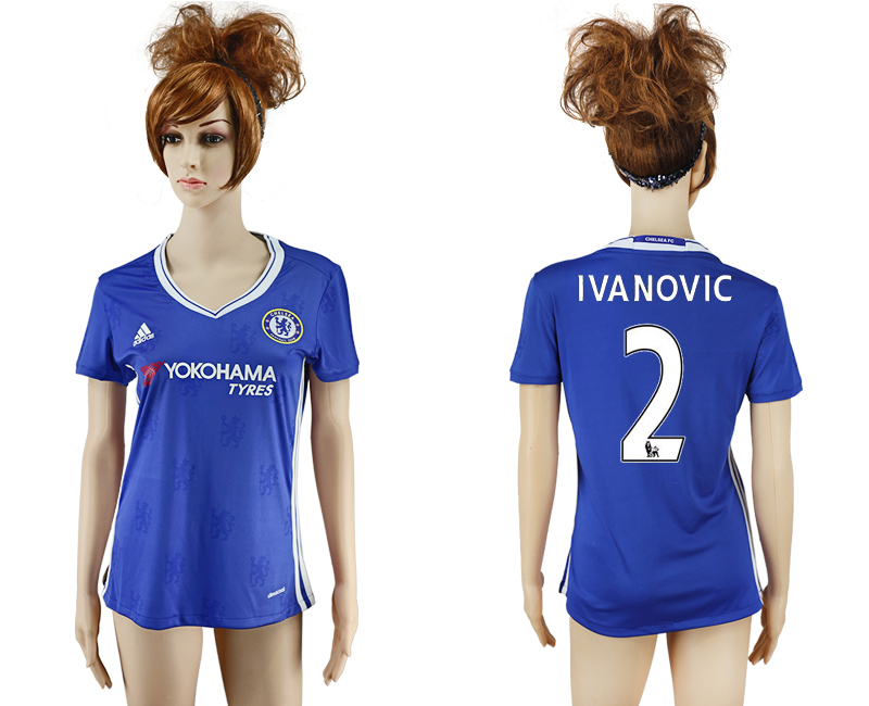 2016-17 Chelsea 2 IVANOVIC Home Women Soccer Jersey