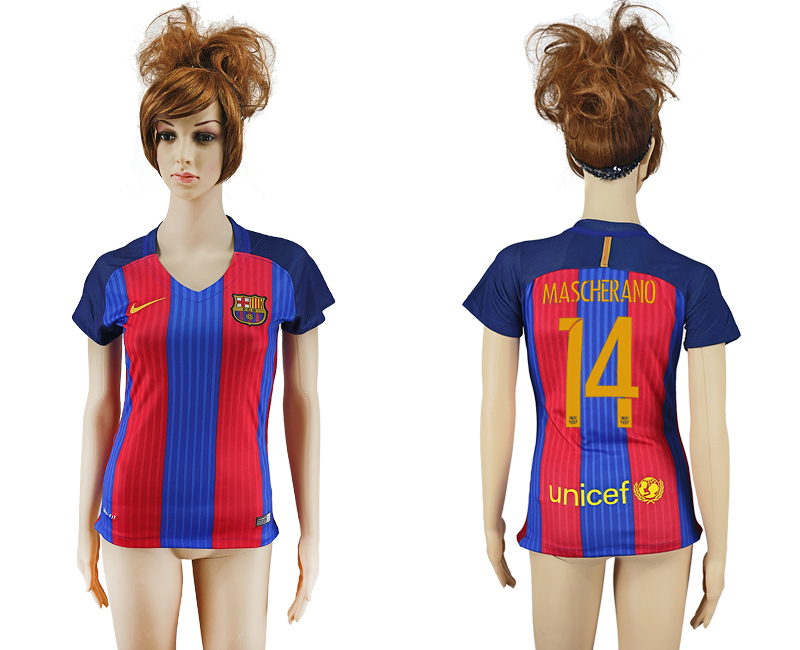 2016-17 Barcelona 14 MASCHERANO Home Women Soccer Jersey
