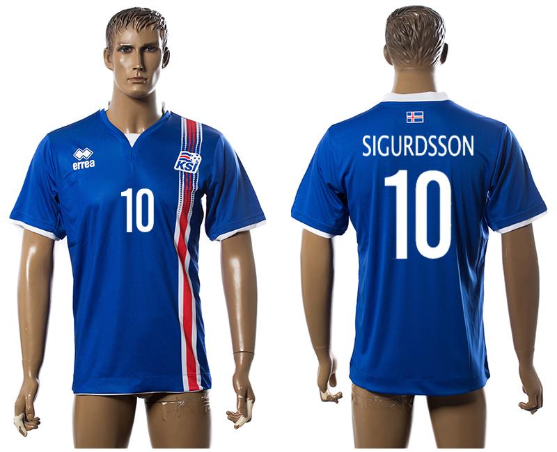 Iceland 10 SIGURDSSON Home UEFA Euro 2016 Thailand Jersey