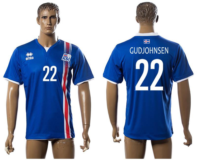Iceland 22 GUDJOHNSEN Home UEFA Euro 2016 Thailand Jersey
