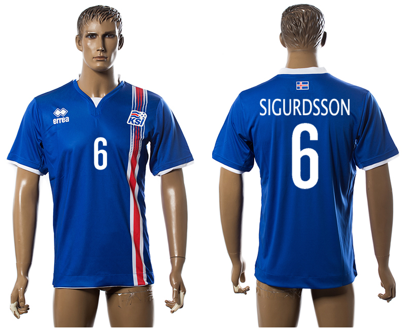 Iceland 6 SIGURDSSON Home UEFA Euro 2016 Thailand Jersey
