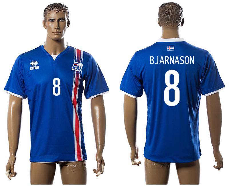 Iceland 8 BJARNASON Home UEFA Euro 2016 Thailand Jersey