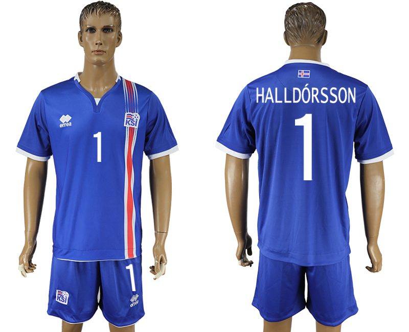 Iceland 1 HALLDORSSON Home UEFA Euro 2016 Soccer Jersey