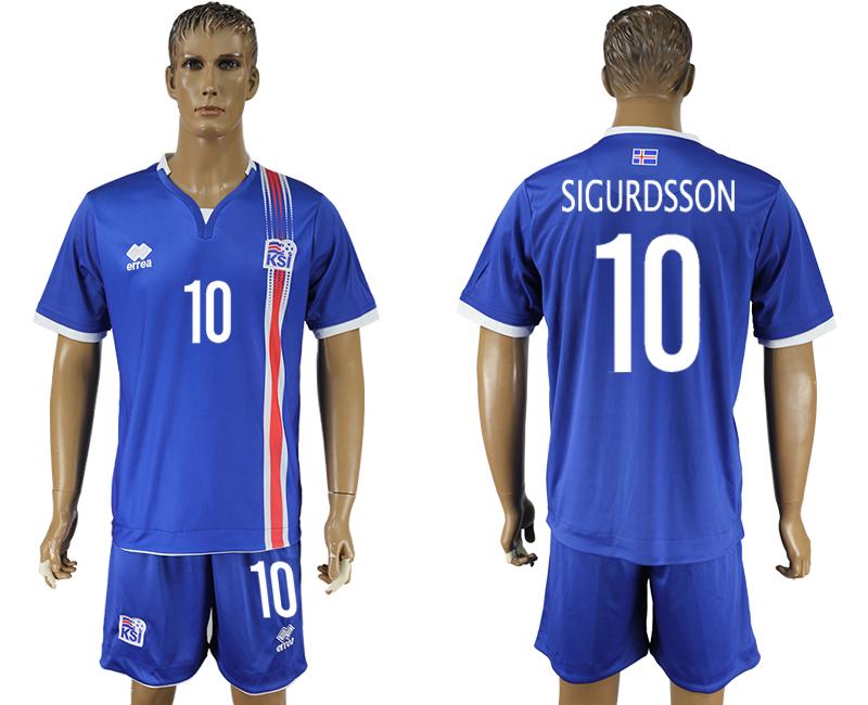 Iceland 10 SIGURDSSON Home UEFA Euro 2016 Soccer Jersey