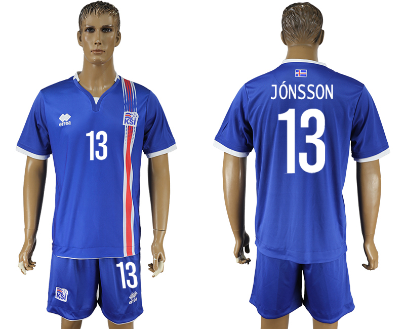 Iceland 13 JONSSON Home UEFA Euro 2016 Soccer Jersey