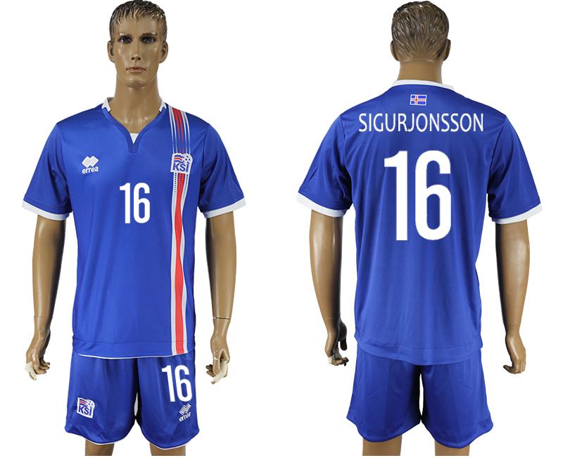 Iceland 16 SIGURJONSSON Home UEFA Euro 2016 Soccer Jersey