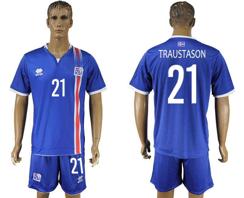 Iceland 21 TRAUSTASON Home UEFA Euro 2016 Soccer Jersey