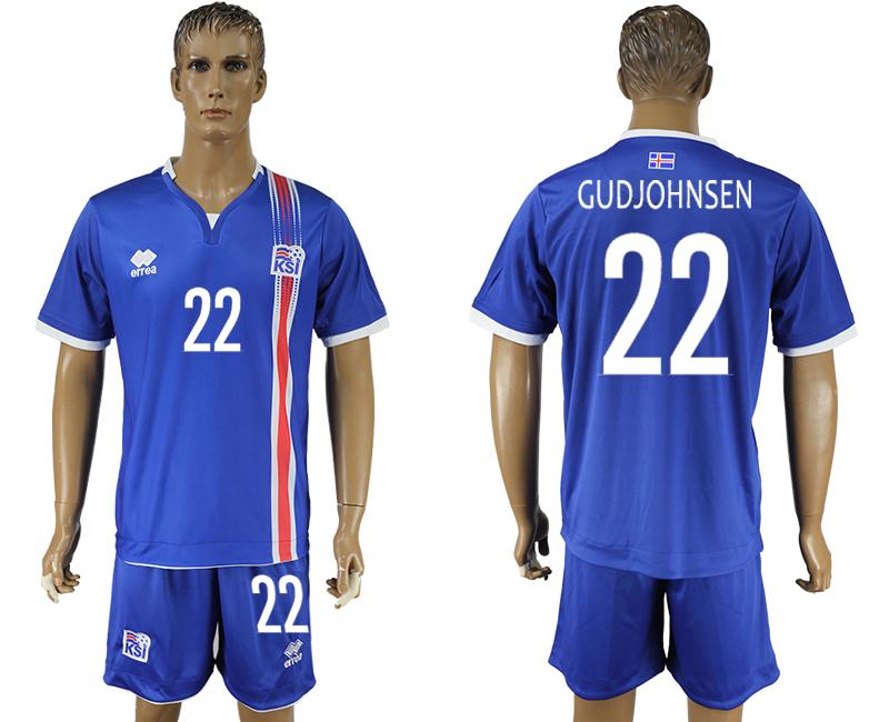 Iceland 22 GUDJOHNSEN Home UEFA Euro 2016 Soccer Jersey