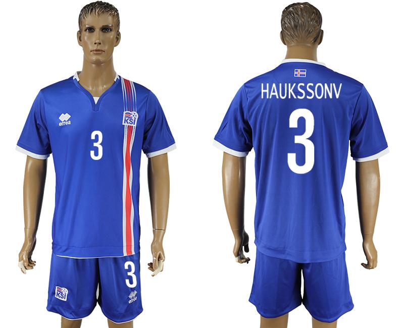 Iceland 3 HAUKSSONV Home UEFA Euro 2016 Soccer Jersey