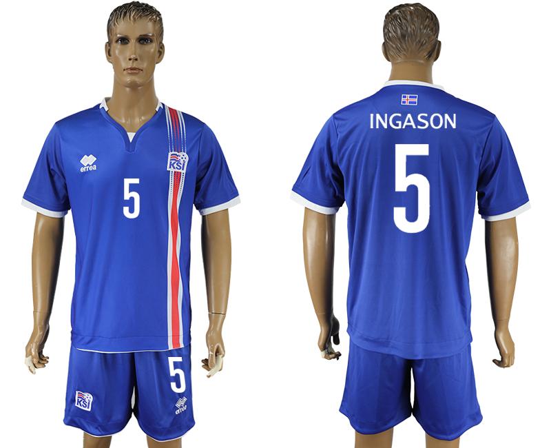 Iceland 5 INGASON Home UEFA Euro 2016 Soccer Jersey