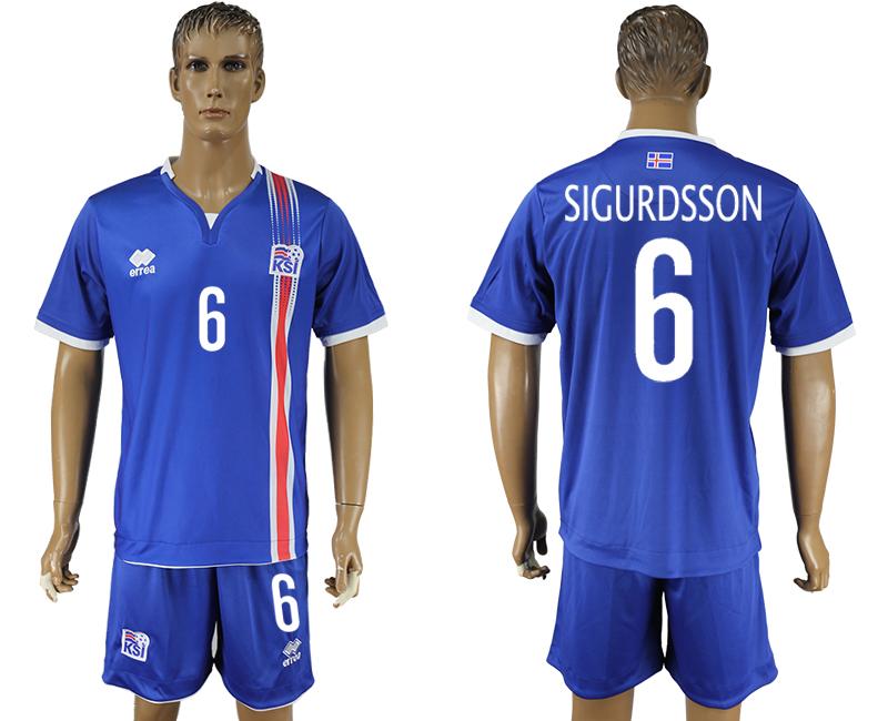 Iceland 6 SIGURDSSON Home UEFA Euro 2016 Soccer Jersey