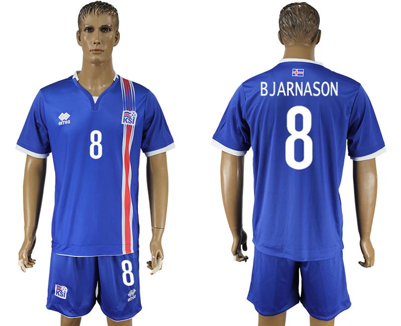 Iceland 8 BJARNASON Home UEFA Euro 2016 Soccer Jersey