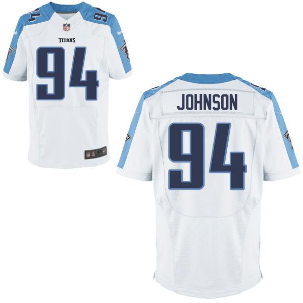 Nike Titans 94 Austin Johnson White Elite Jersey