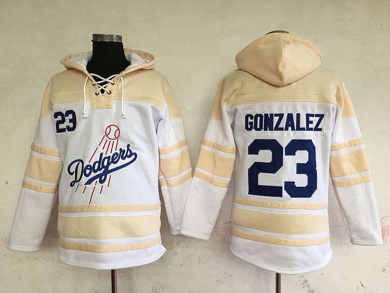 Dodgers 23 Adrian Gonzalez White All Stitched Hooded Sweatshirt