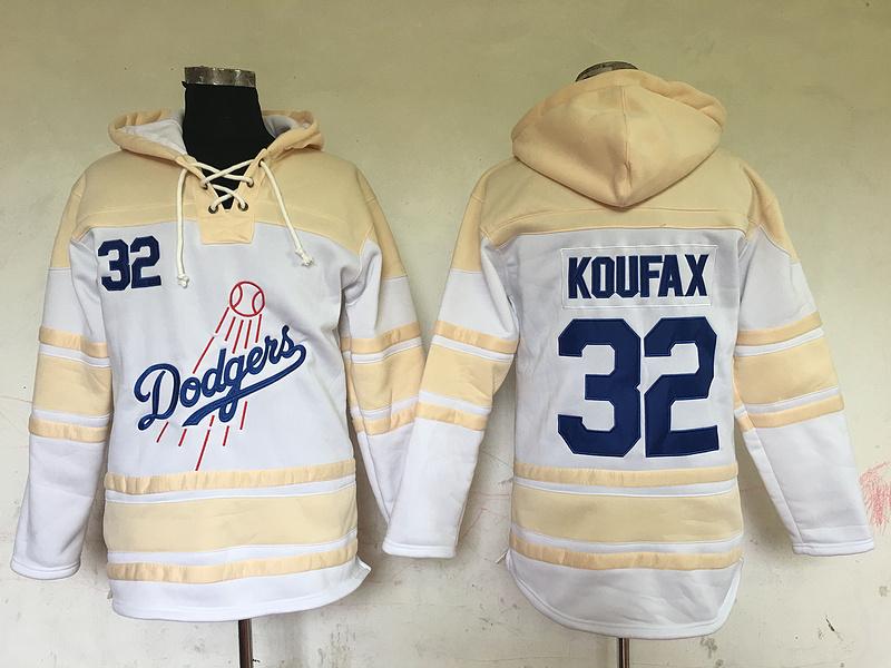 Dodgers 32 Sandy Koufax White All Stitched Hooded Sweatshirt
